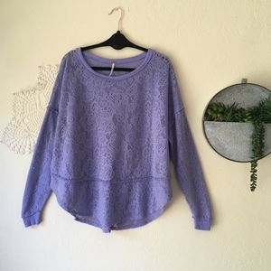 Free People lavender floral lace Not Cold pullover